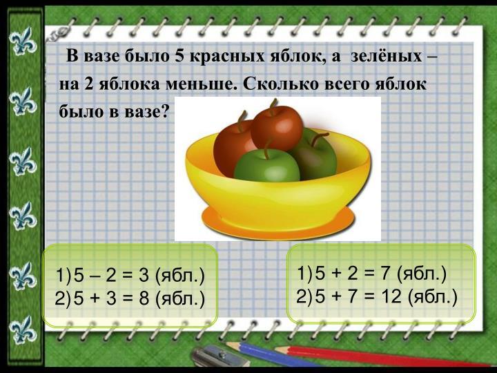 5 – 2 = 3 (ябл.)