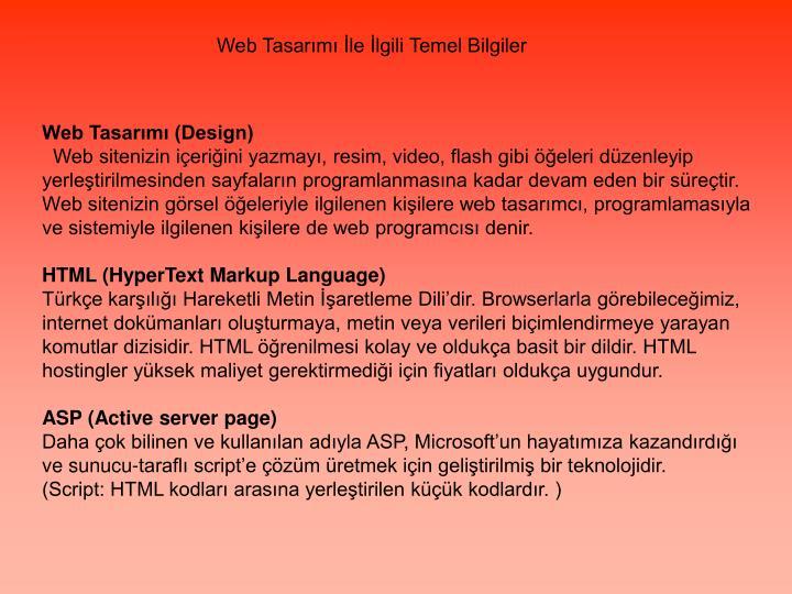 Web Tasarımı İle İlgili Temel Bilgiler