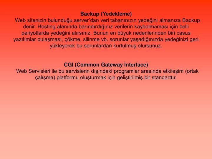 Backup (Yedekleme)