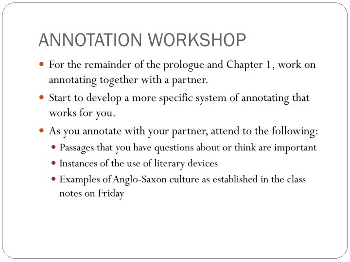 ANNOTATION WORKSHOP