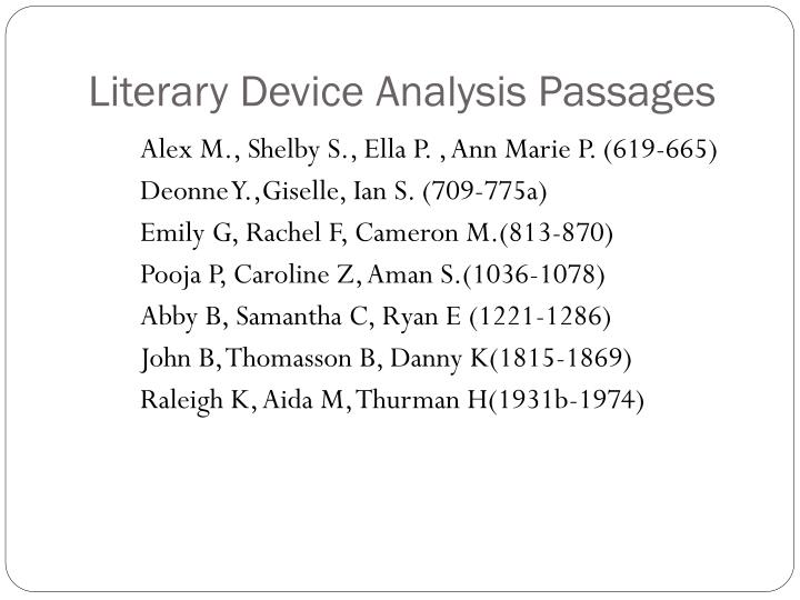 Literary Device Analysis Passages