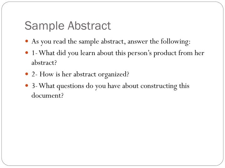 Sample Abstract