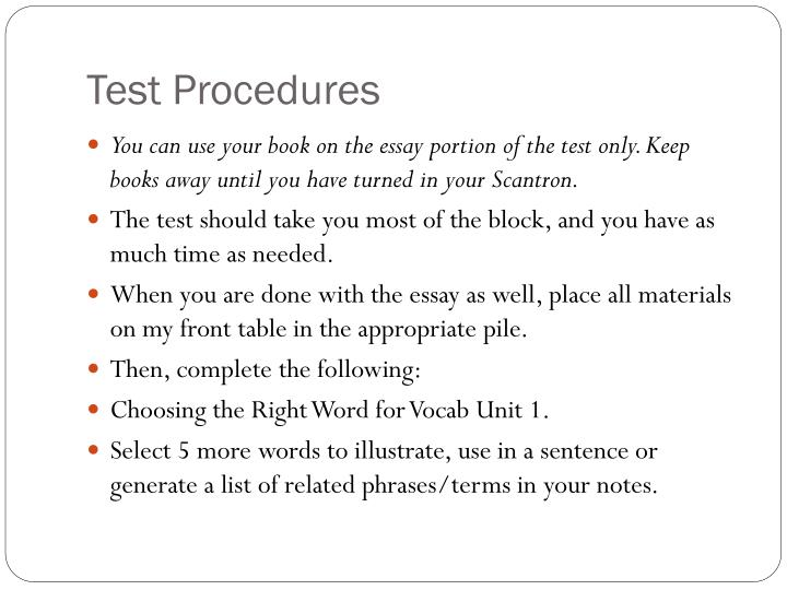 Test Procedures