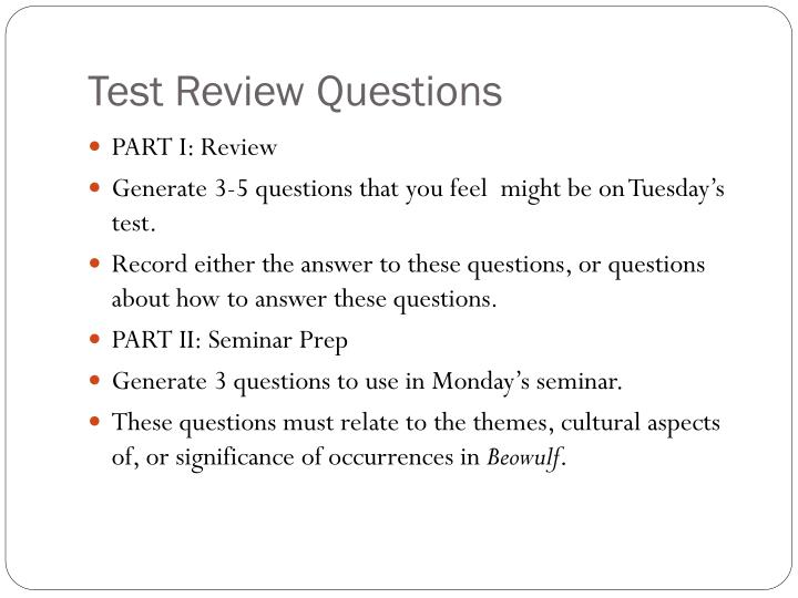 Test Review Questions