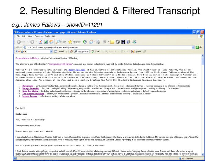 2. Resulting Blended & Filtered Transcript