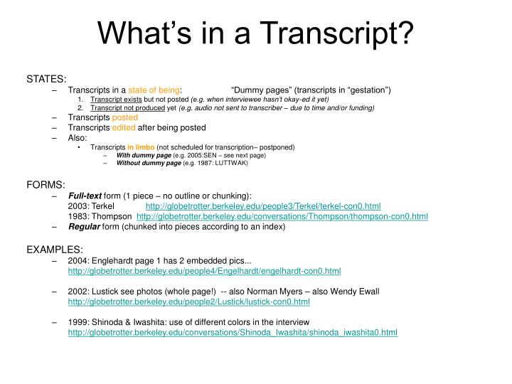 What's in a Transcript?