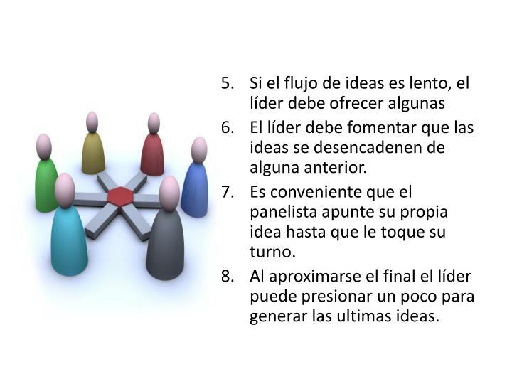 Si el flujo de ideas es lento, el líder debe ofrecer algunas