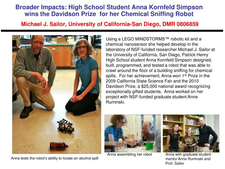 Broader Impacts: High School Student Anna Kornfeld Simpson wins the Davidson Prize  for her Chemical...
