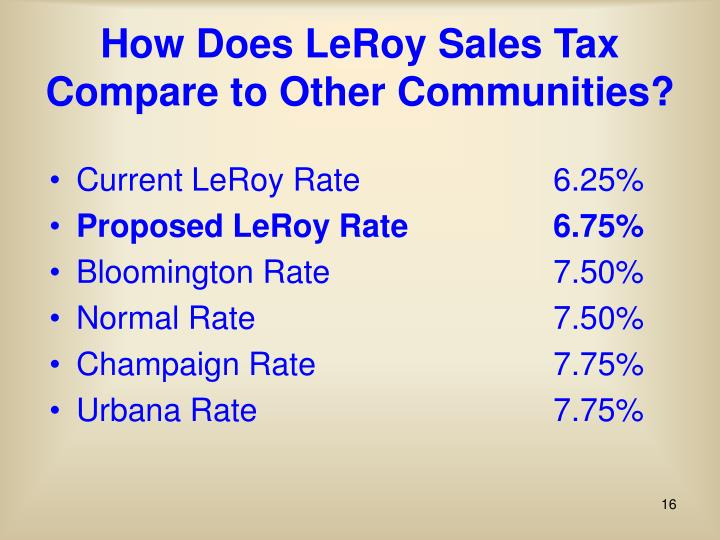 How Does LeRoy Sales Tax Compare to Other Communities?