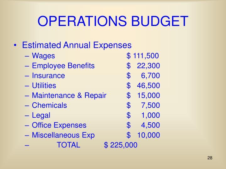 OPERATIONS BUDGET