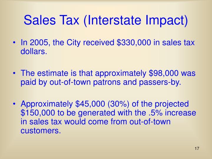 Sales Tax (Interstate Impact)