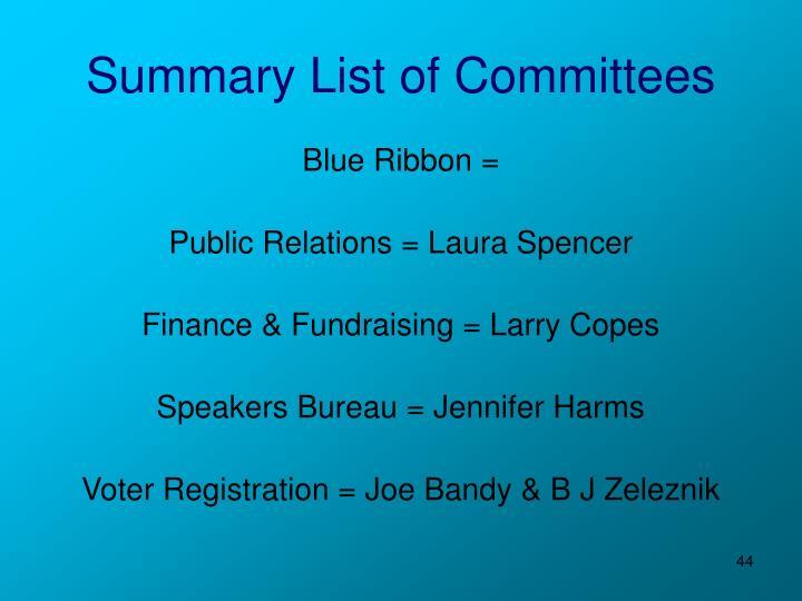 Summary List of Committees