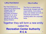 together they will form a new entity called the recreation center authority r c a