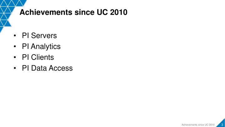 Achievements since UC 2010