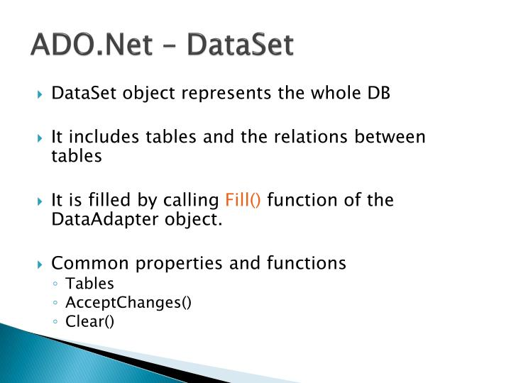 ADO.Net – DataSet