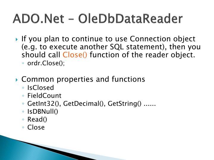 ADO.Net – OleDb