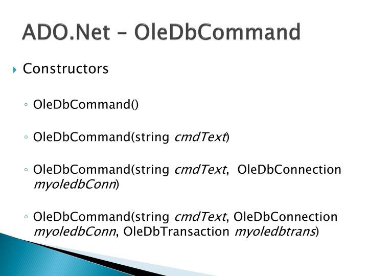 ADO.Net – OleDbCommand