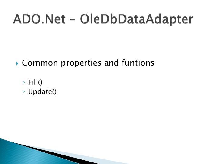 ADO.Net – OleDbDataAdapter