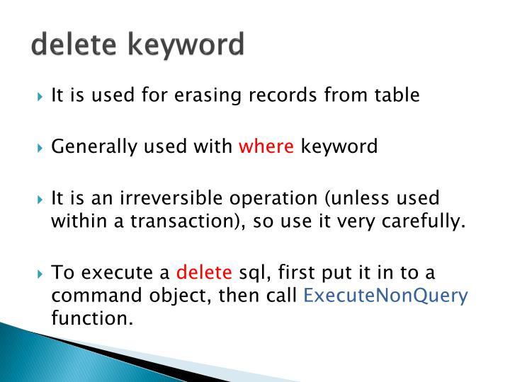 delete keyword