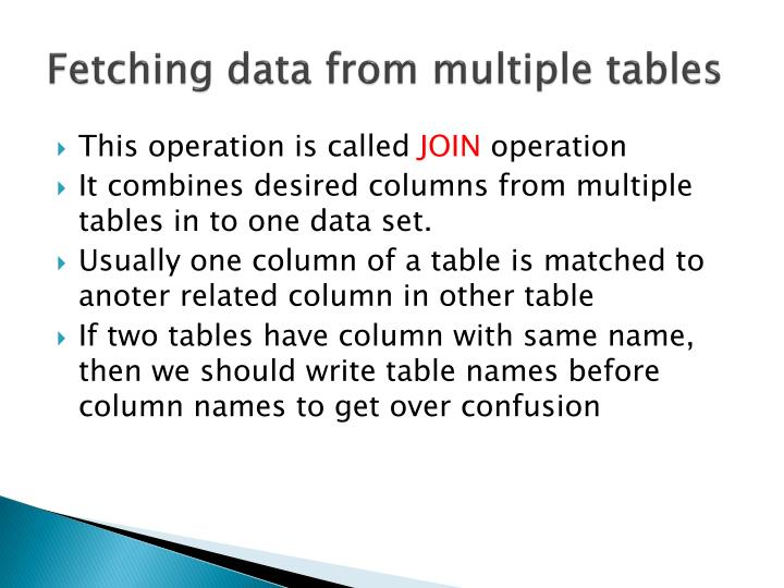 Fetching data from multiple tables