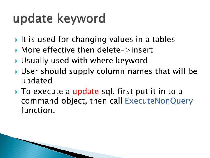 update keyword