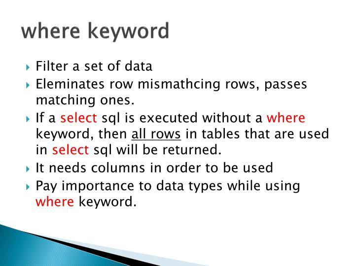 where keyword