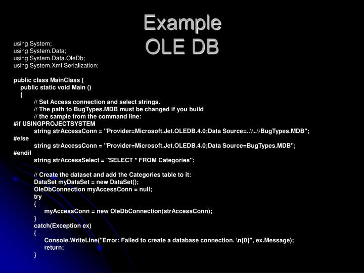 Example ole db