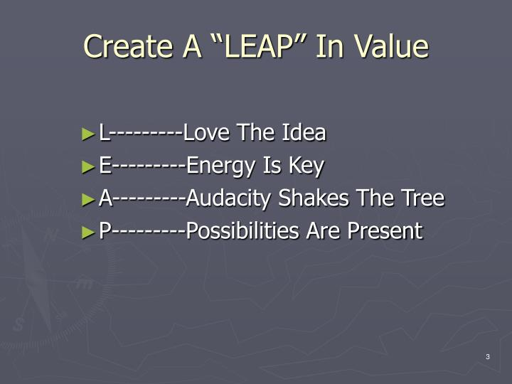 Create a leap in value
