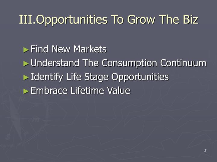 III.Opportunities To Grow The Biz