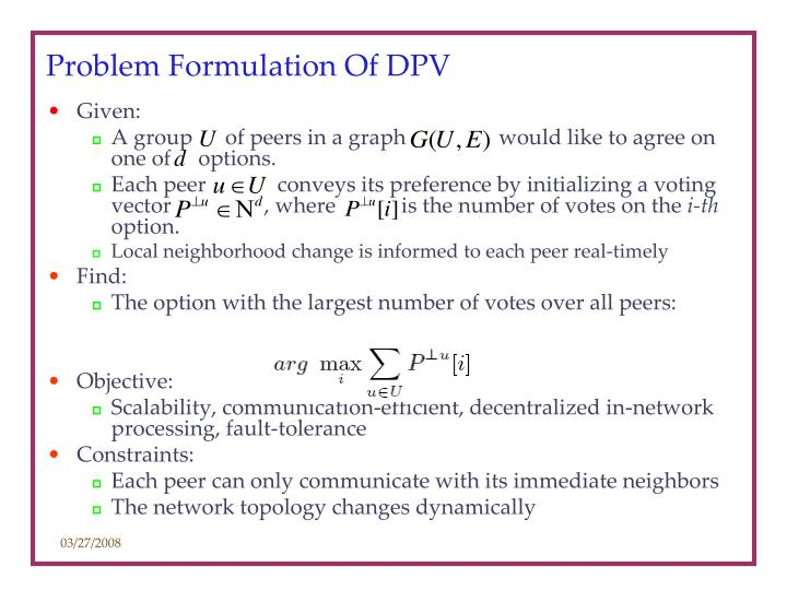 Problem Formulation Of DPV