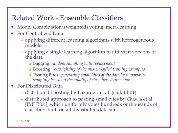 Related Work - Ensemble Classifiers