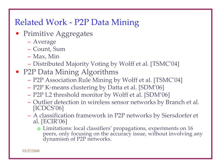 Related Work - P2P Data Mining