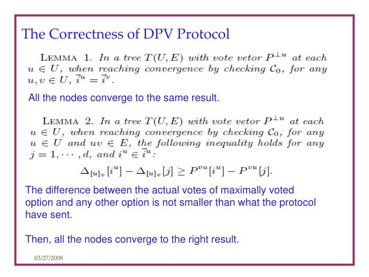 The Correctness of DPV Protocol