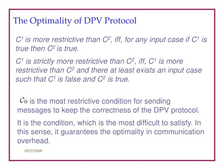 The Optimality of DPV Protocol