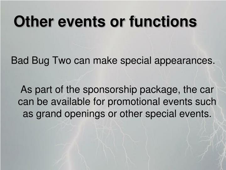 Other events or functions