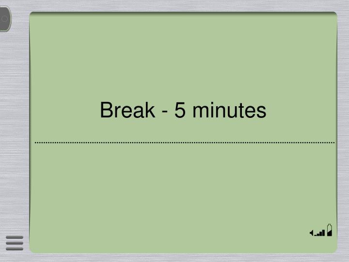 Break - 5 minutes