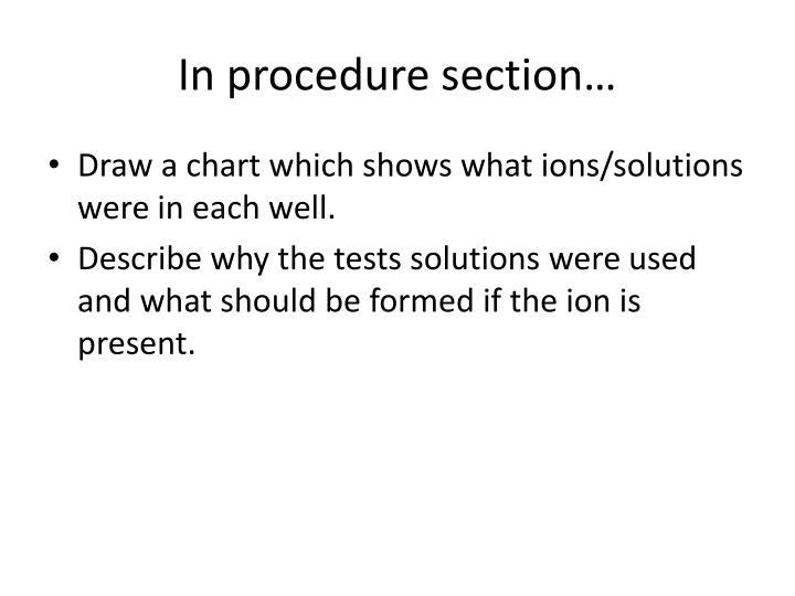 In procedure section