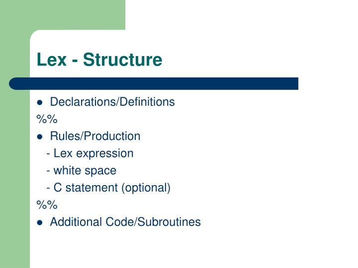 Lex - Structure