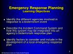 emergency response planning learning objectives