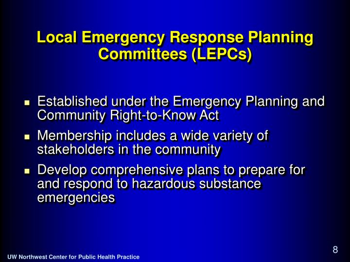 Local Emergency Response Planning Committees (LEPCs)