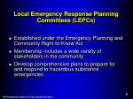 local emergency response planning committees lepcs
