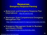 resources emergency response planning