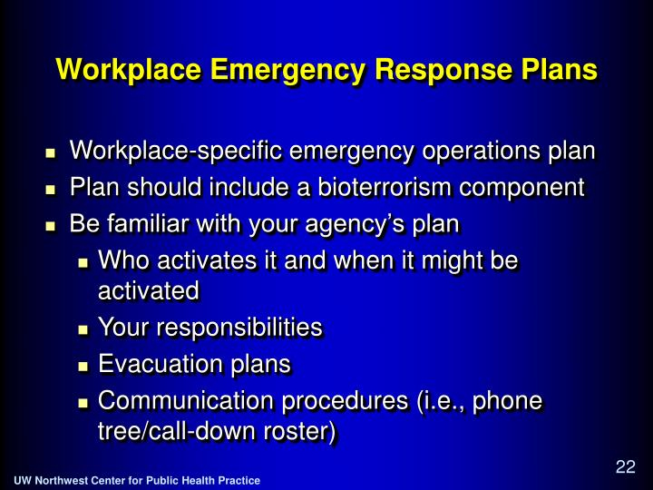Workplace Emergency Response Plans
