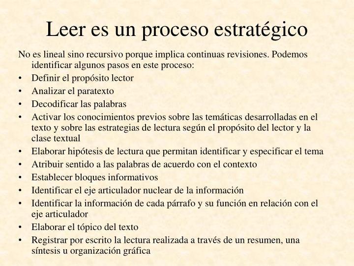 Leer es un proceso estratégico