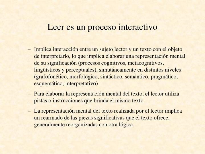Leer es un proceso interactivo