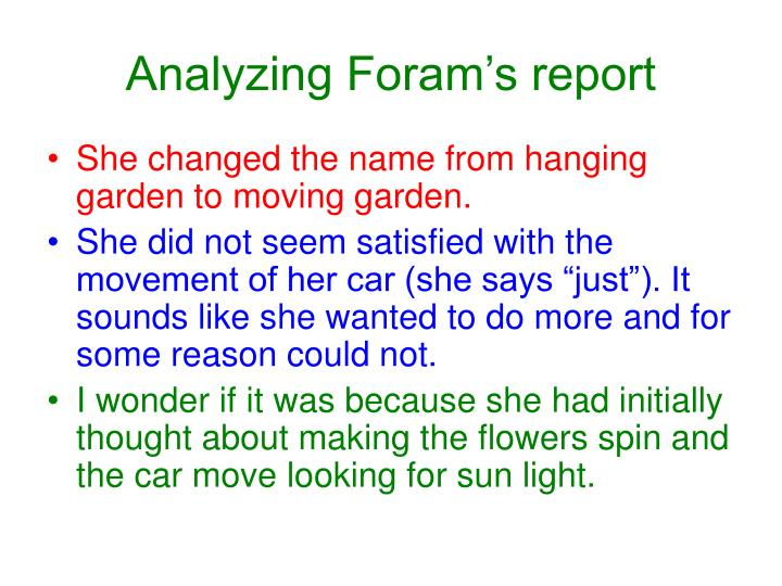 Analyzing Foram's report