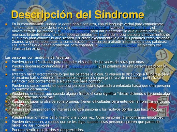 Descripción del Síndrome