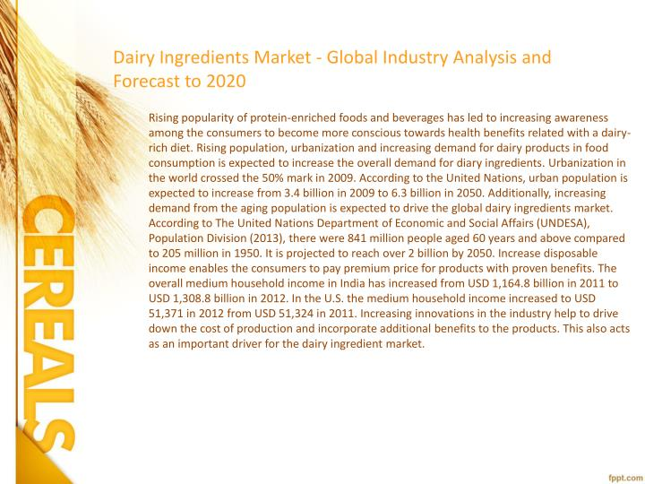 Dairy Ingredients Market - Global Industry Analysis and Forecast to 2020