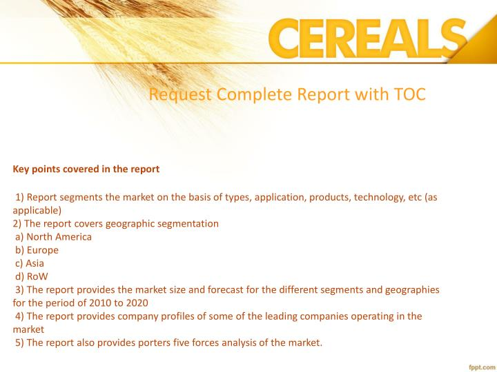 Request Complete Report with TOC
