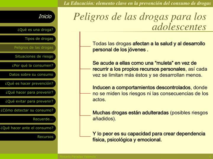 Peligros de las drogas para los adolescentes